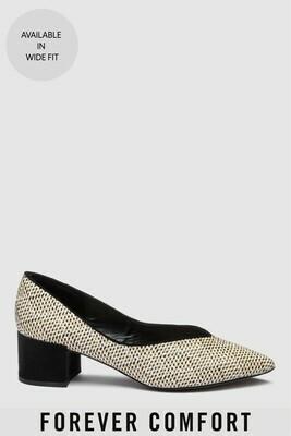 Next Monochrome Weave Point Block Heel Shoes