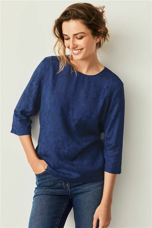 Navy jacquard top