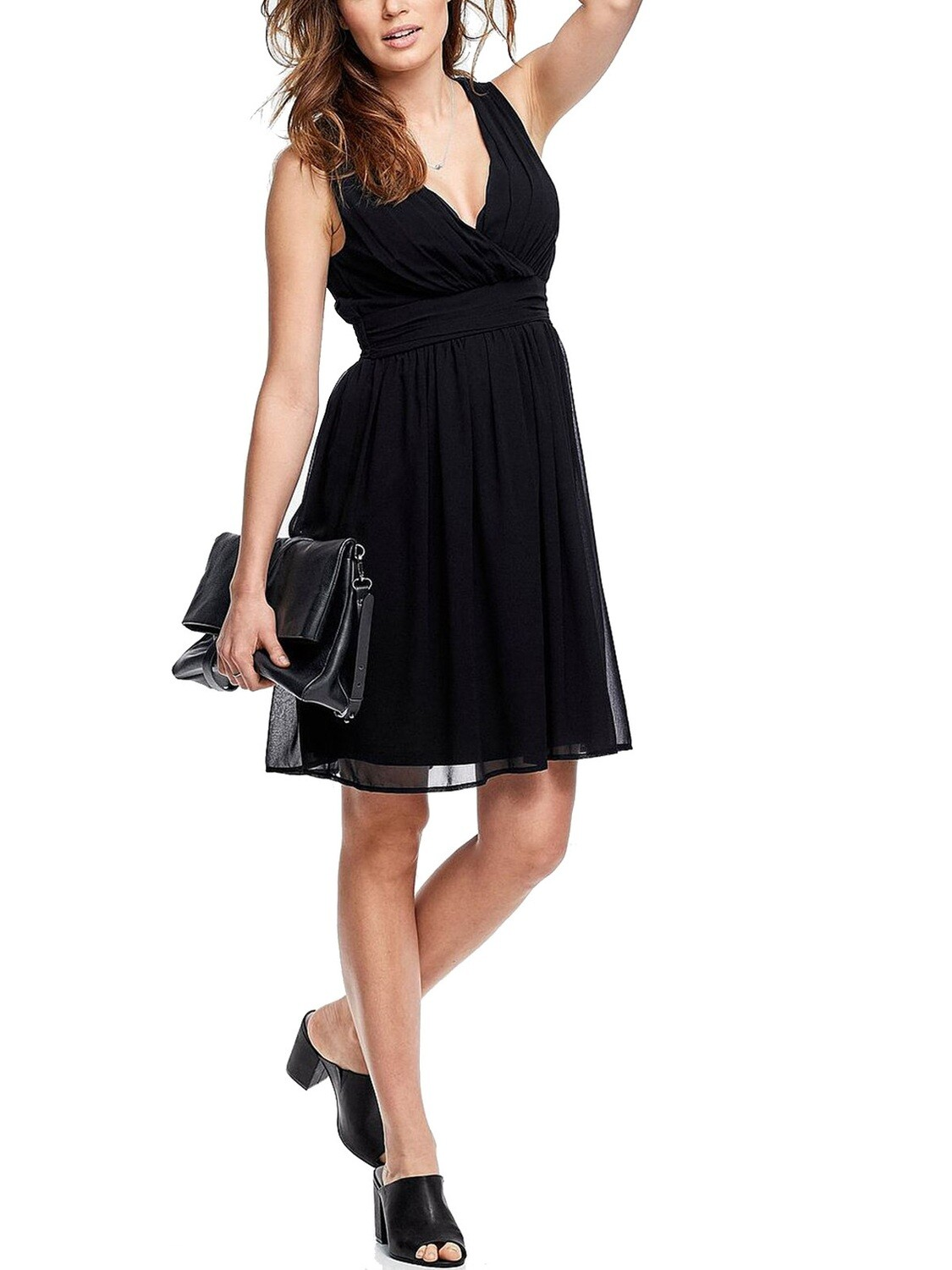 Crossover Front Sleeveless Black Dress