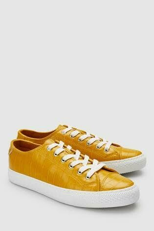 Croc Effect Baseball Lace-up Trainers