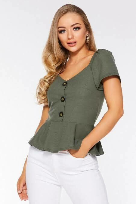 Khaki Peplum Button Top