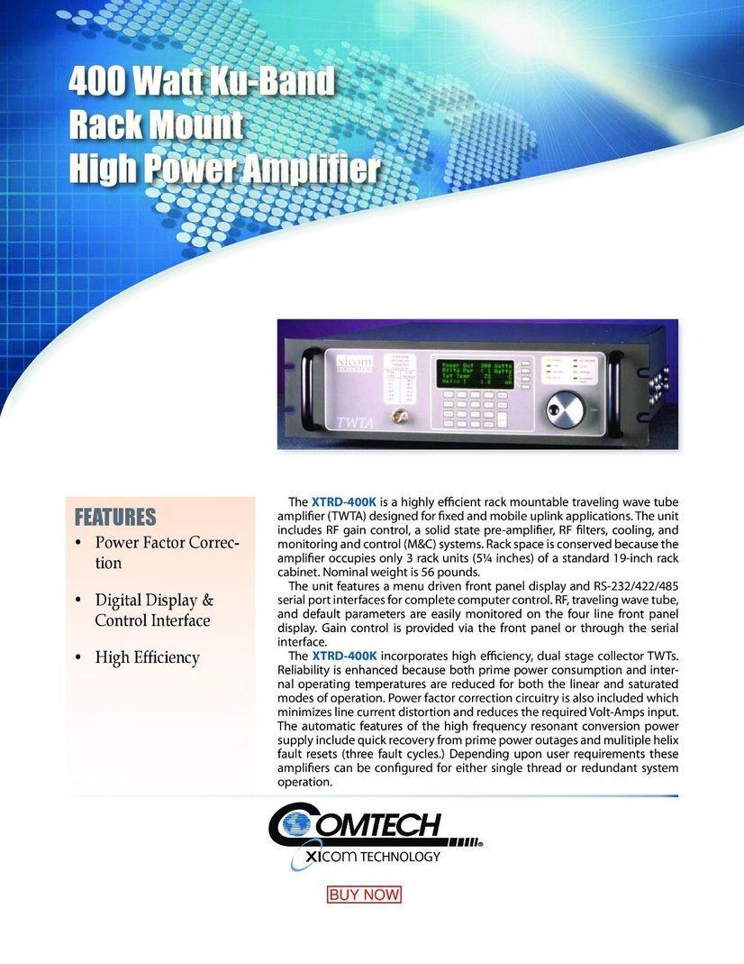 XICOM XTRD 400 HPA Extended KU Band TWTA HPA ( low usage) w/ Warranty  13 75-14 5