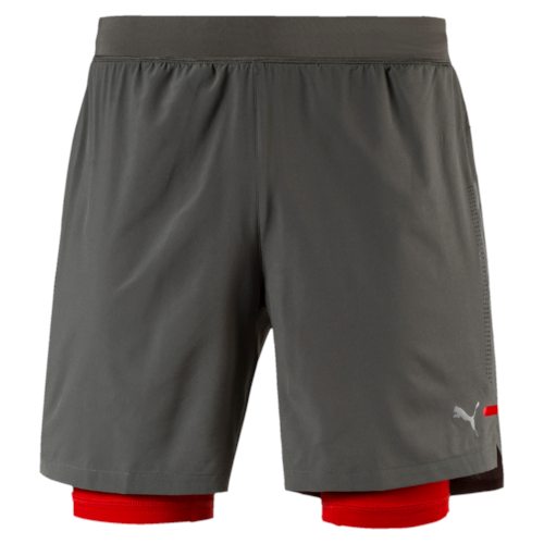 Puma short PowerRun 2in1 grijs/rood