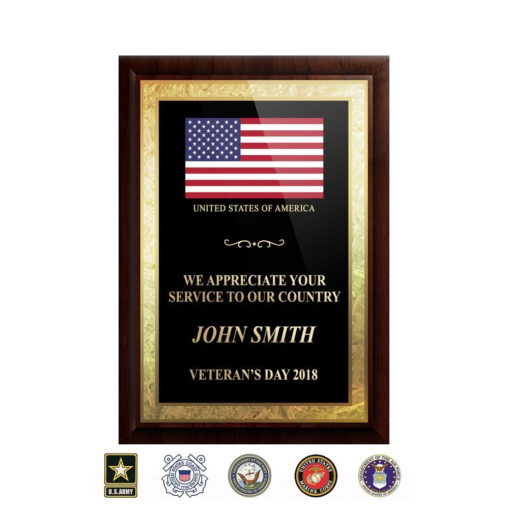 "5""x7"" Gold-leaf Solid Walnut Veteran Plaque 5x7veterangoldleaf"