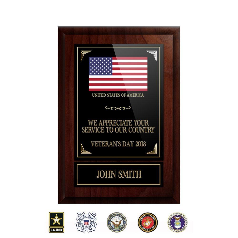"""5""""x7"""" Solid Walnut Veteran Plaque 5x7veteranregular"""