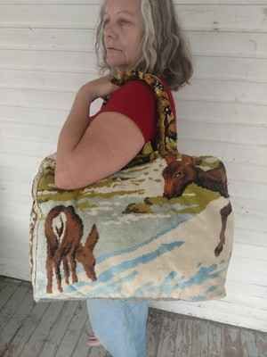 Hermans Tapestry Bag Suitcase made in USA Deer