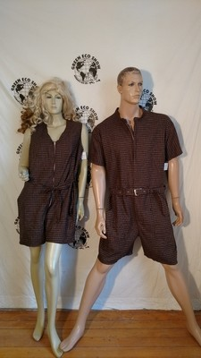 Matching Rompers His Hers XL L  Brown Check Linen Hermans USA