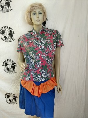Womens Blouse Hermans  M Pink white Flowers VTG Cotton  USA