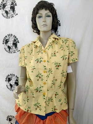 Womens Blouse M Rockabilly Hermans USA  check roses