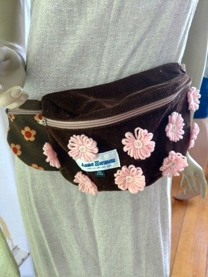Brown Pink wool flowers Fanny Pack Hermans  USA