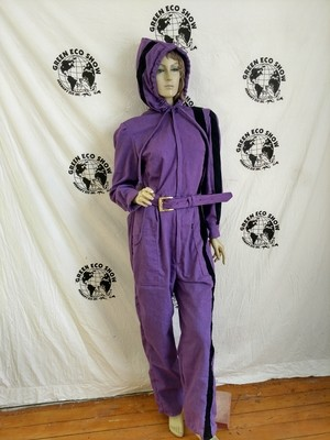 Womens Jumpsuit  L Purple Hoody Blk Striped Hermans  Eco USA