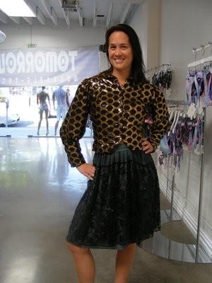 Womens Jacket Black gold sequin M-L Hermans USA lined Hooks