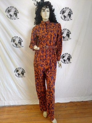 Womens Jumpsuit Flocked Orange and Purple  L velveteen Made in USA