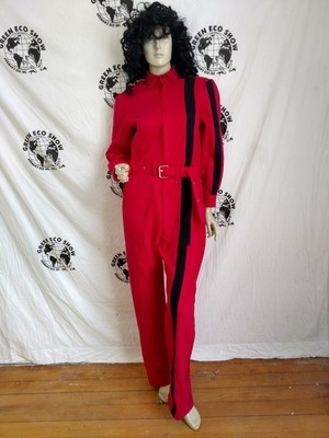 womens Jumpsuit red with sewn on Stripe L X 30 Hermans Eco USA