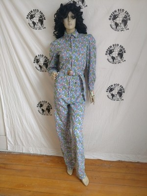 Womens Jumpsuit S X 33 Anna Herman Cotton Flowers USA