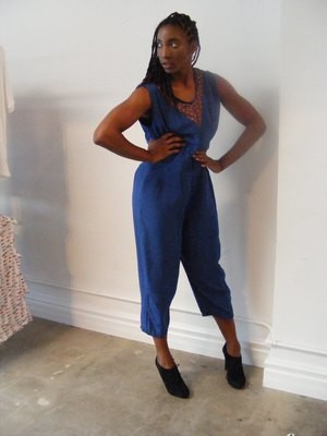 Womens Blue silk Jumpsuit with Stars M Anna Herman USA