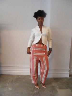 Womens Striped Steampunk flap Pants M  X 27 Hermans USA Capris