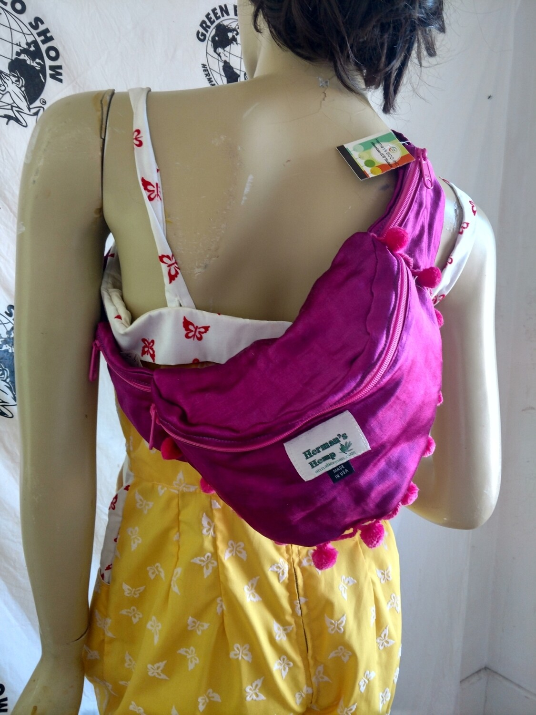 Hermans Hemp silk Fanny Pack  purple pink pom poms USA