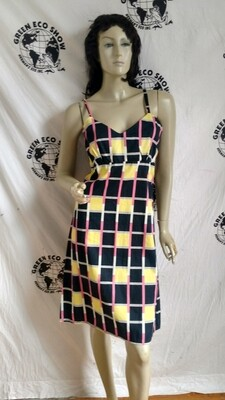 Womens Sun Dress Cubist Squares M  w 30
