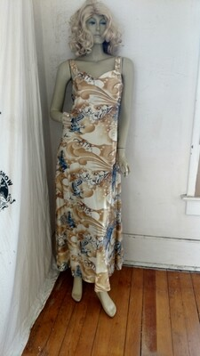 Anna Hermans Dress Gown Vtg Picture poly M - L USA  Eagles and Fish