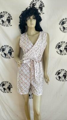 Womens Wrap around Romper Jumpsuit M Sm Flower print contrasting USA