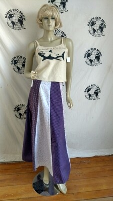 Patchwork Skirt Purple Cotton W 28