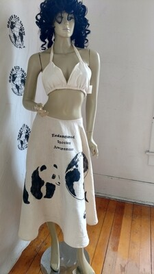 Hermans Hemp Endangered Species Skirt Panda Shark Earth W 29