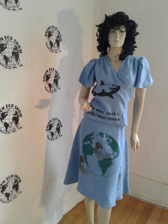 Endangered Species Skirt  wrap blouse  Hemp Airbrushed  M
