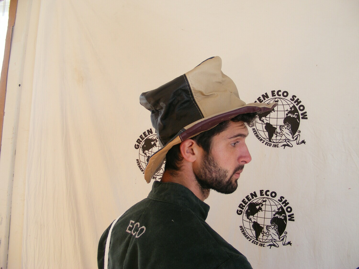 Mens Leather Top Hat made in USA Patchwork repurposed
