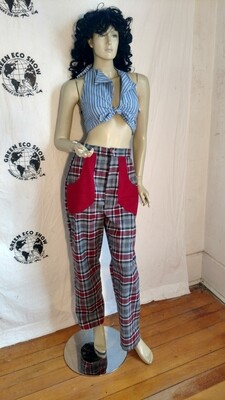 Womens pants High waisted plaid