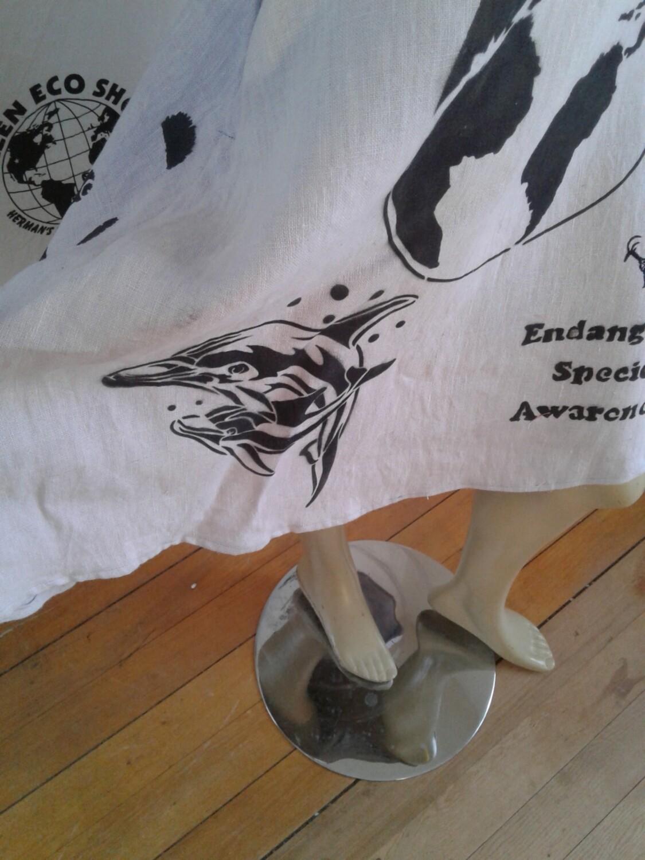 Hermans Hemp ice blue skirt Endangered Species dolphins zebra