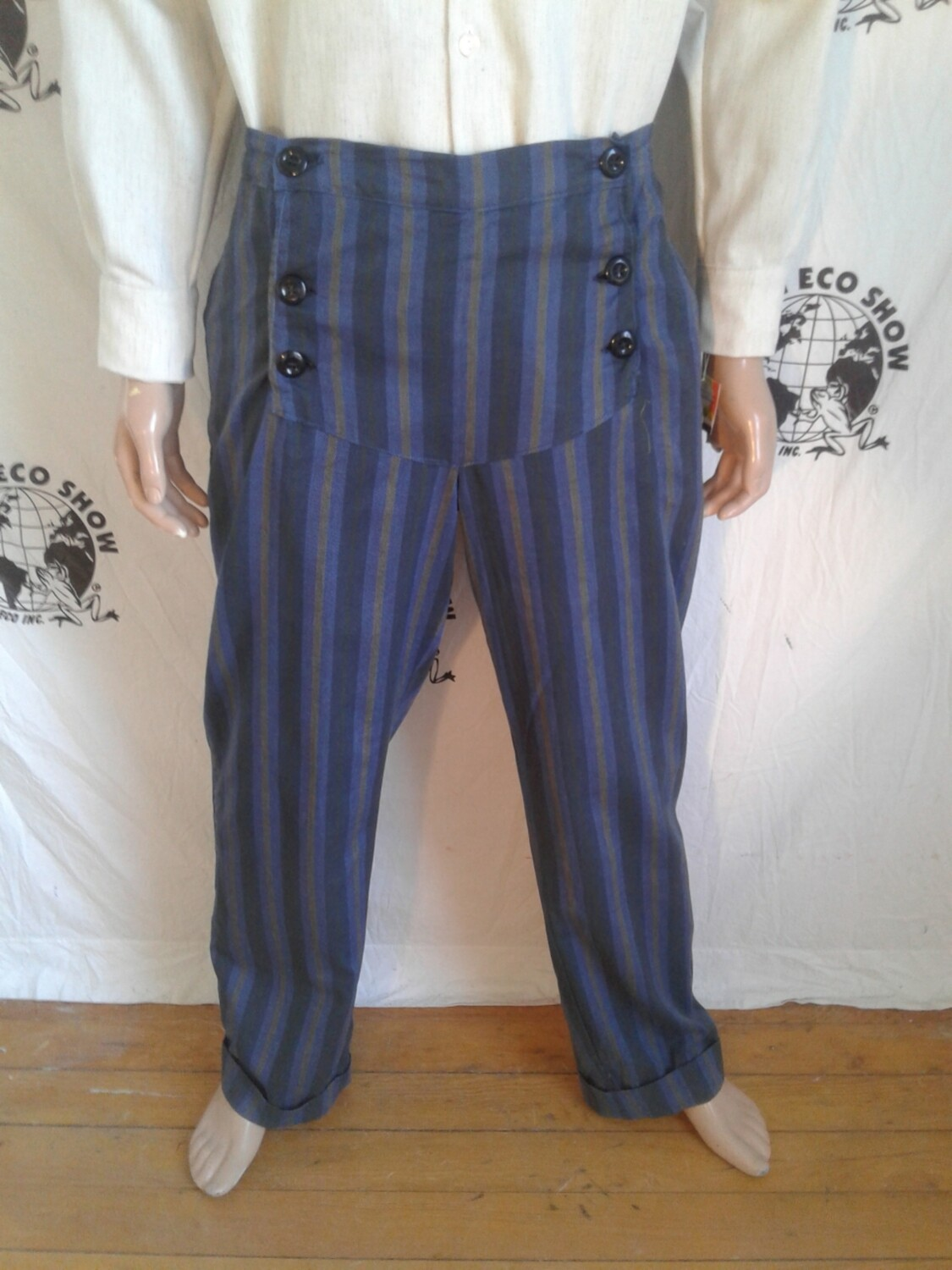 Mens double fky Steampunk striped pants 38 X 32