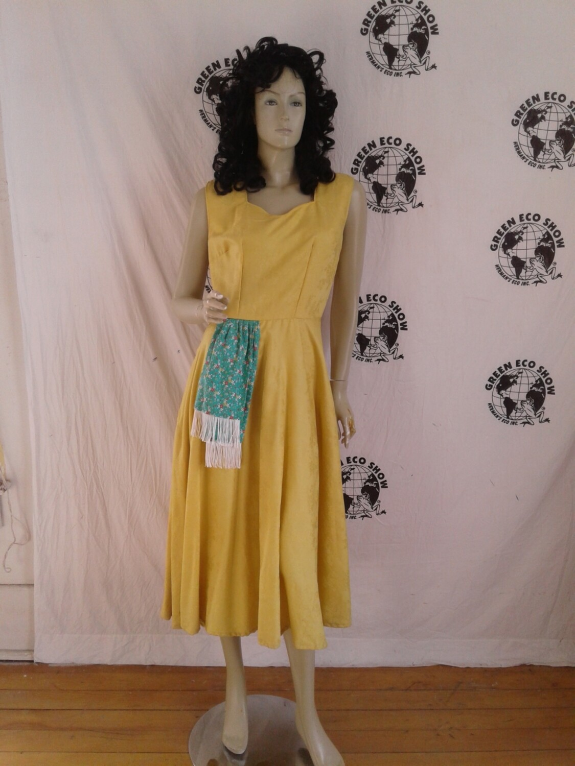 Yellow party dress w 28 embossed