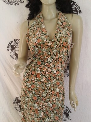 Womens long velveteen halter dress m to l flowers