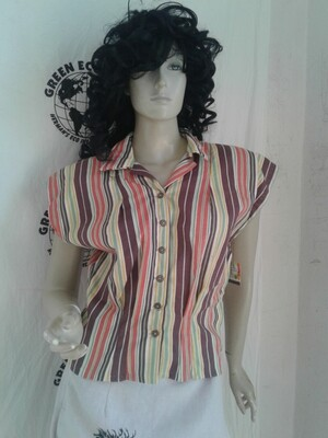 Womens Striped blouse M Anna Herman USA