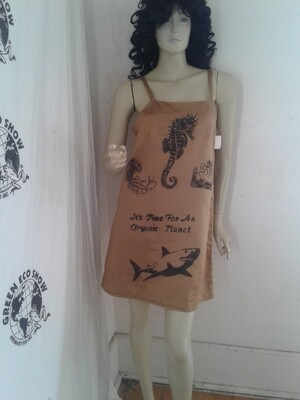 Hemp silk statin dress M Hermans Hemp Sealife Endangered Species