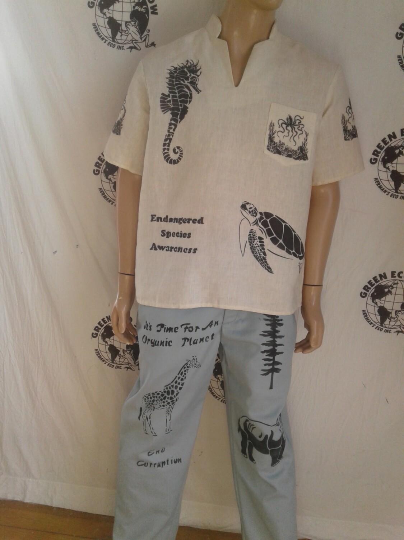 Hermans Hemp Grafitti  mens shirt Endandered Sealife made in USA L