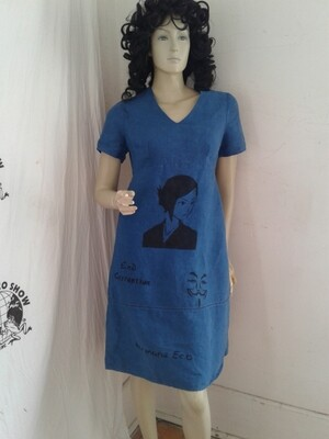 Hermans Hemp airbrushed Grafitti dress blue Small Statute of Liberty