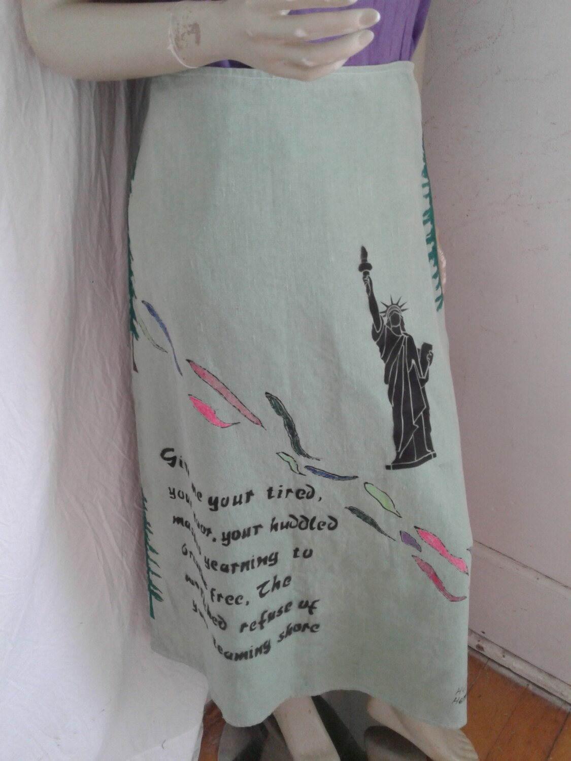 Hermans Hemp Grafitti skirt made in USA Airbrushed