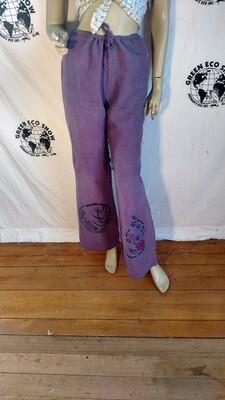 Hermans Hemp S purple airbrushed drawstring pants
