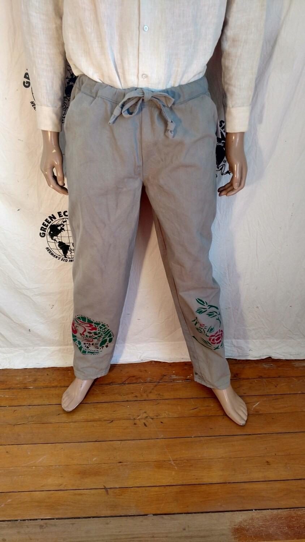 Hermans Eco  organic Cotton srawstring pants gray airbrushed L