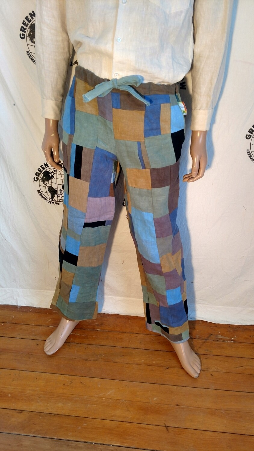 Hermans Hemp patchwork drawstring pants M