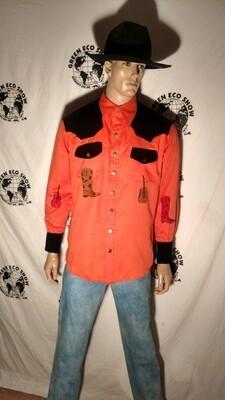 Cowboy Western Shirt L velvet airbrushed buckin bronxo