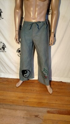 Hermans Hemp drawstring pants M green