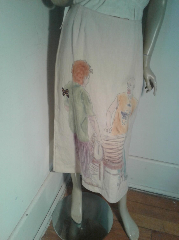Hermans Hemp hand painted skirt w 29