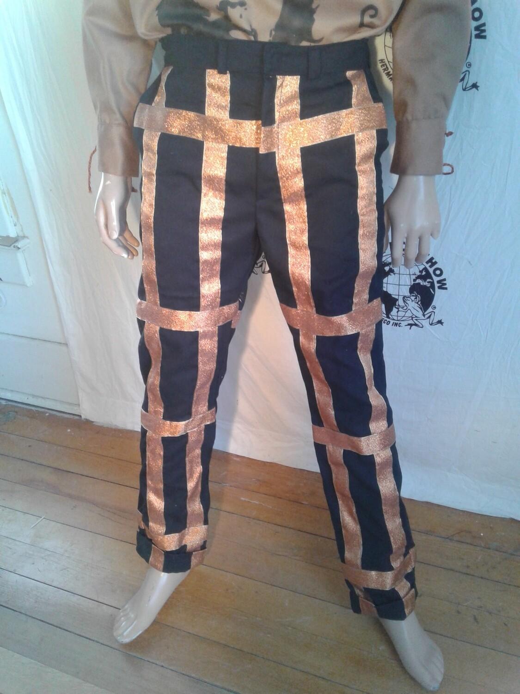 Wool Bondage pants Blk gold ribbon 33 X 33