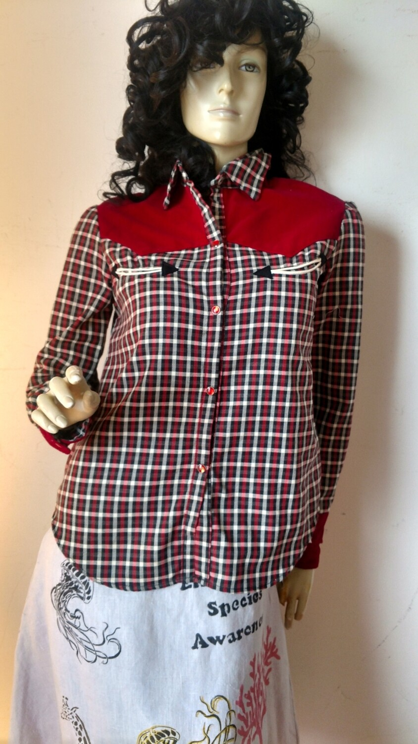 Womens plaid western shirt smiley face pickets USA