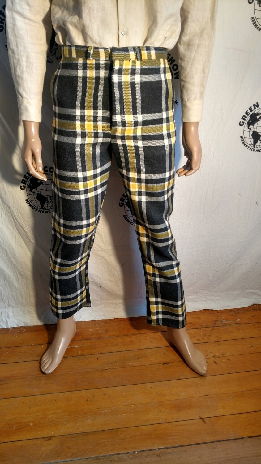 Plaid suit  style pants steampunk wool 30