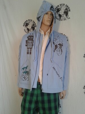 Hip hop grafitti jacket xl airbrush Blue Hermans Eco USA