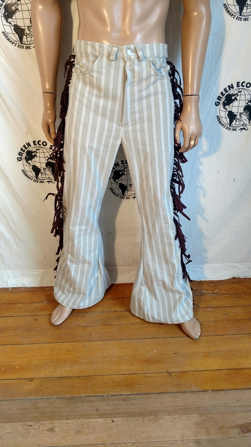 Fringed bell bottoms pants linen